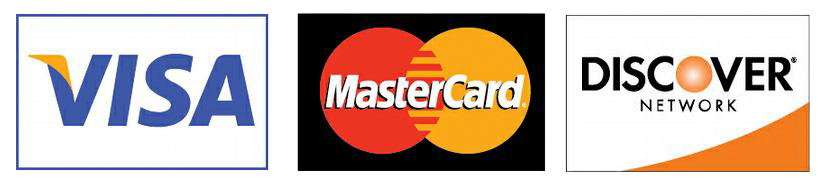 We accept Mastercard, Visa, and Discover.